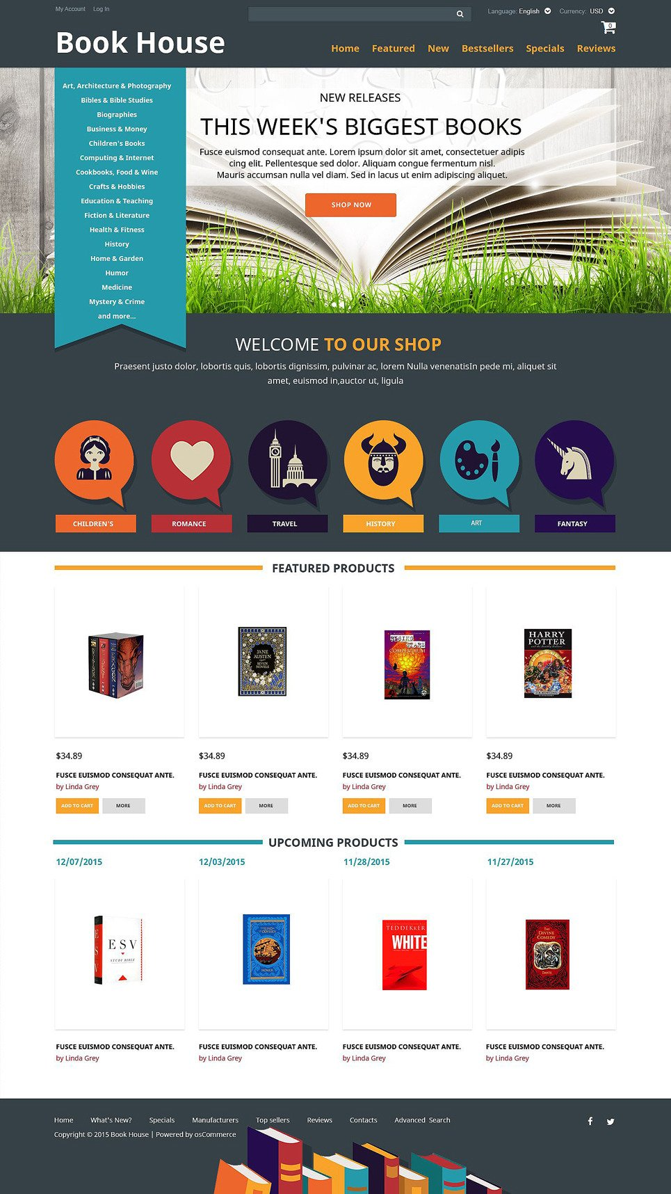Book Shop OsCommerce Template New Screenshots BIG