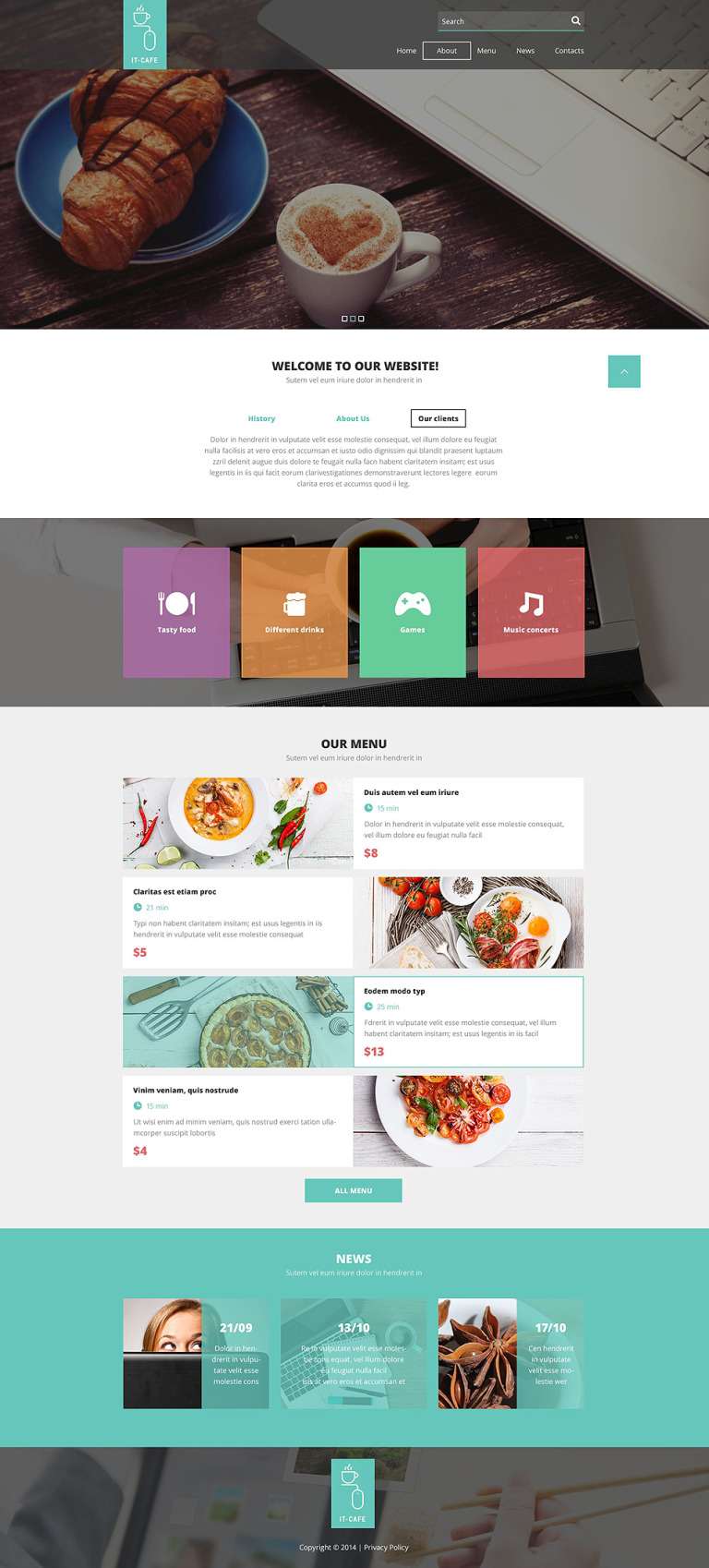 Cafe Responsive Website Template New Screenshots BIG