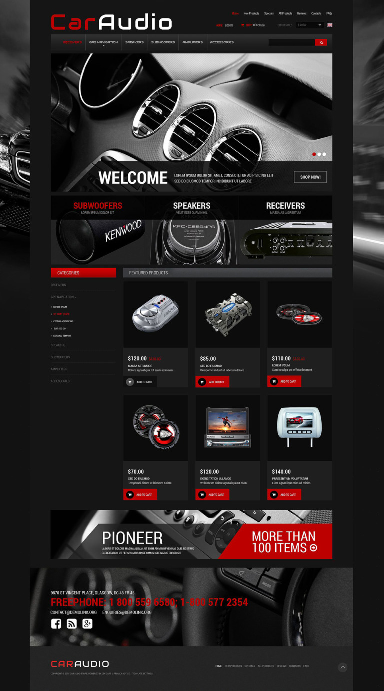 Car Electronics ZenCart Template New Screenshots BIG
