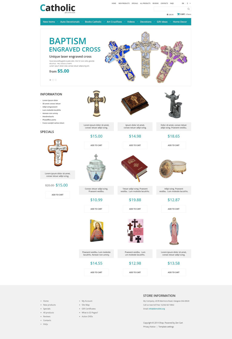 Catholic Church ZenCart Template New Screenshots BIG