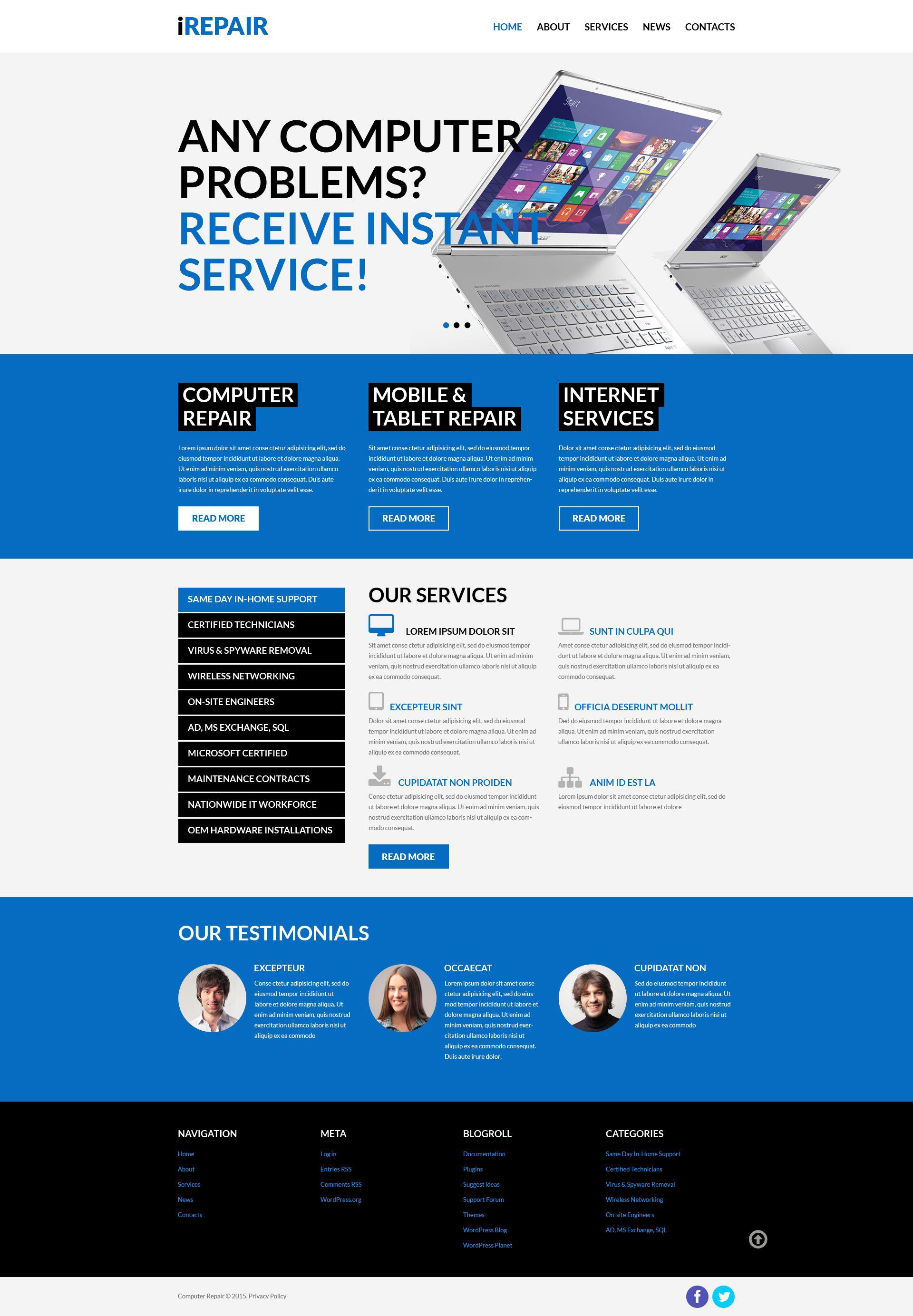 """Computer Repair Services"" Responsive WordPress thema №52468"