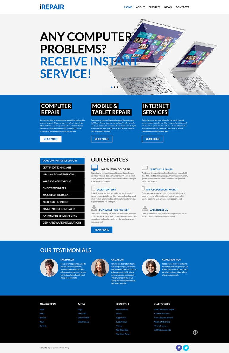 Computer Repair Services WordPress Theme New Screenshots BIG