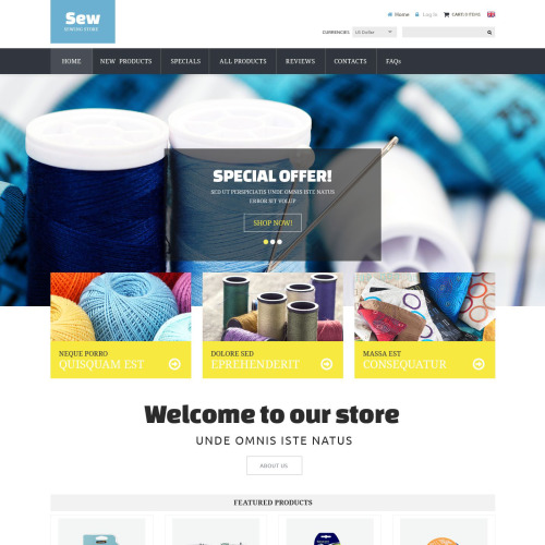 Sew Sewing Store - HTML5 ZenCart Template