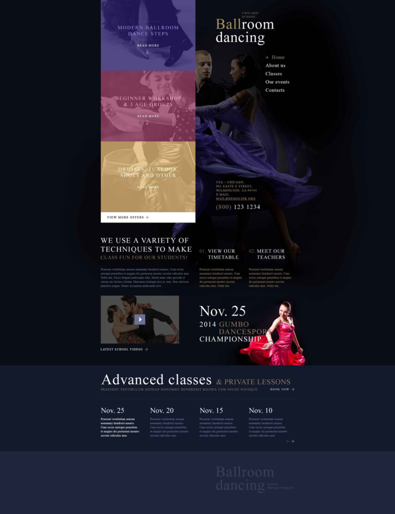 Dance Room Website Template New Screenshots BIG