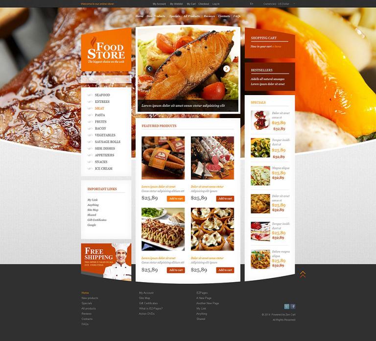 Food Store ZenCart Template New Screenshots BIG