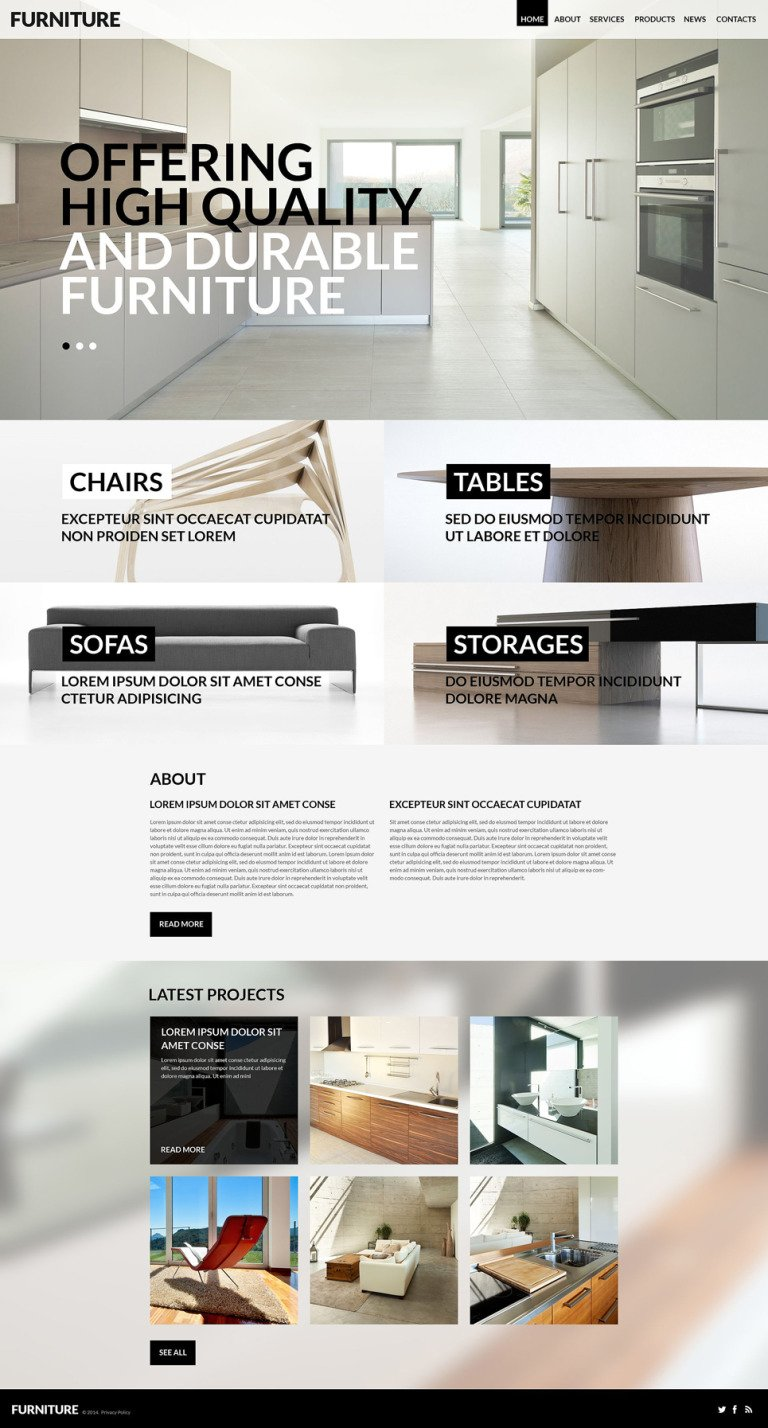 Furniture for Any Taste WordPress Theme New Screenshots BIG