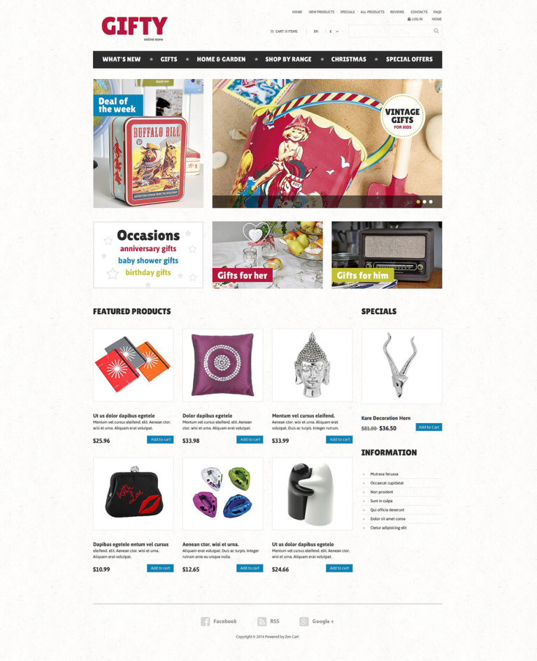 Gifts Store ZenCart Template New Screenshots BIG