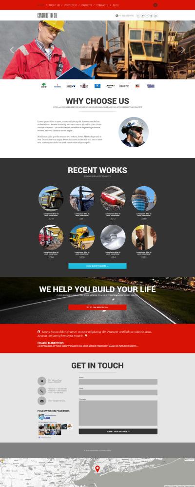 Адаптивный Joomla шаблон №52412 на тему строительные компании