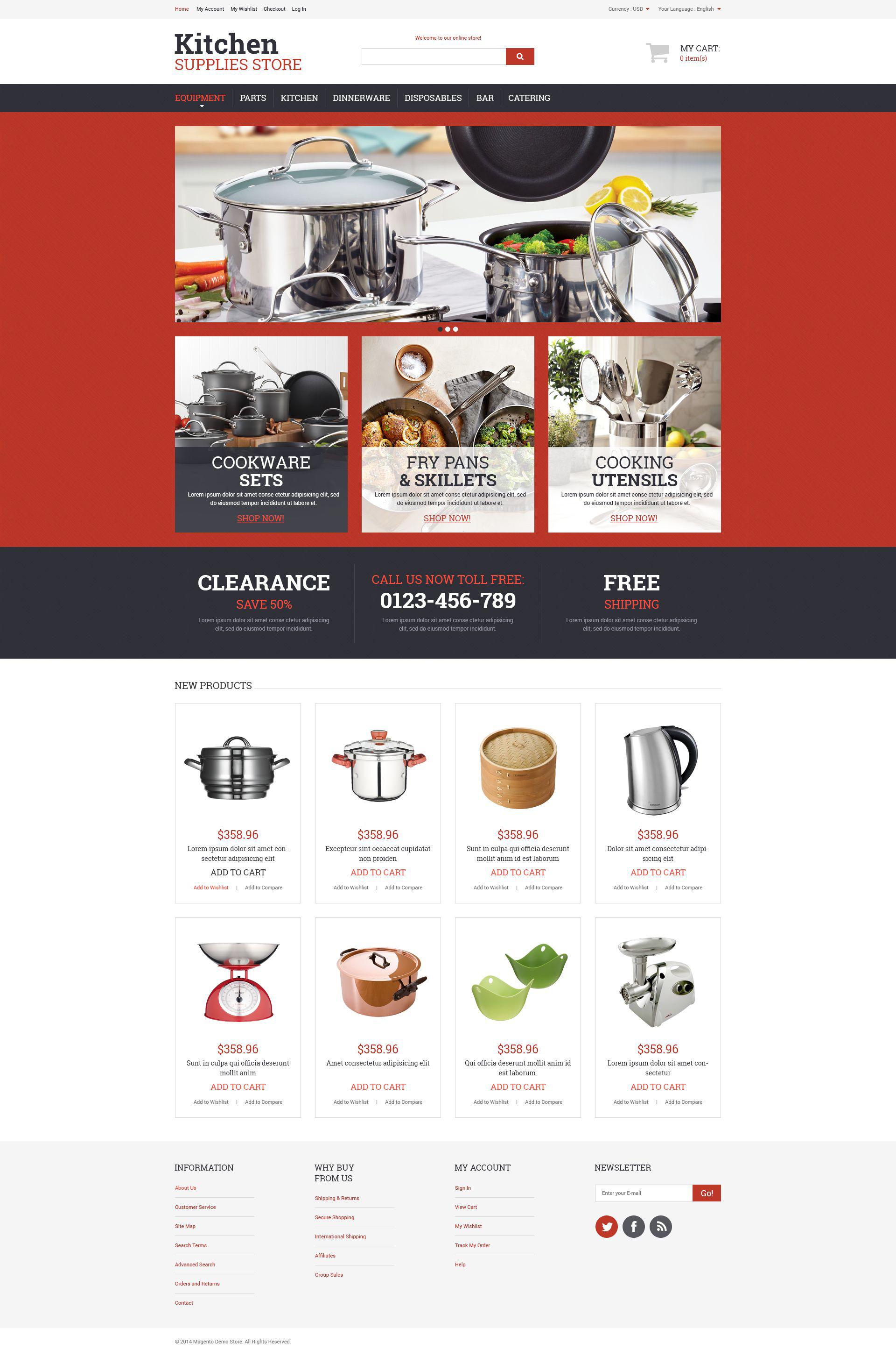 """Kitchen Utensils"" - адаптивний Magento шаблон №52485"