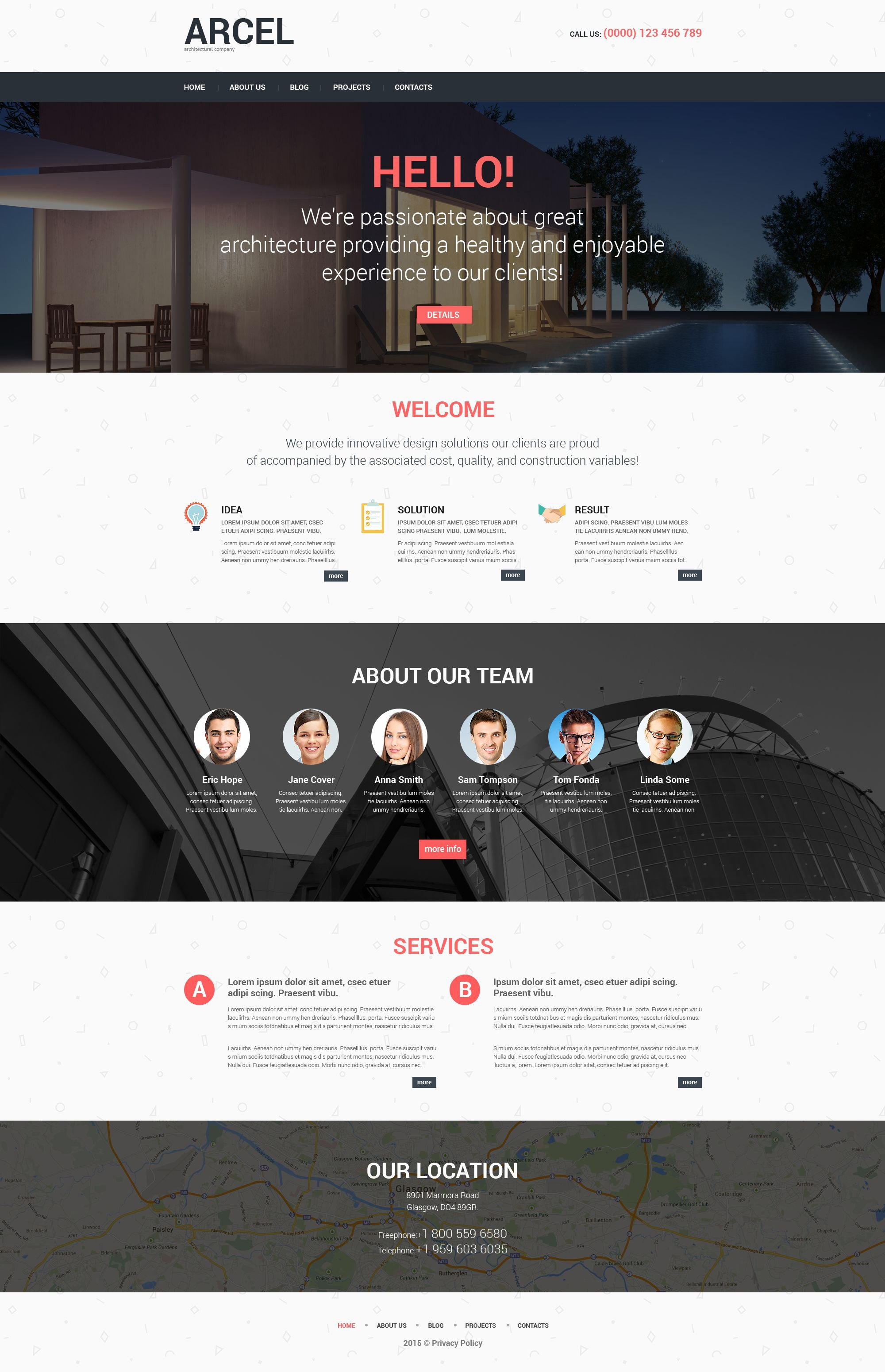 Modello WordPress Responsive #52466 per Un Sito di Architettura - screenshot