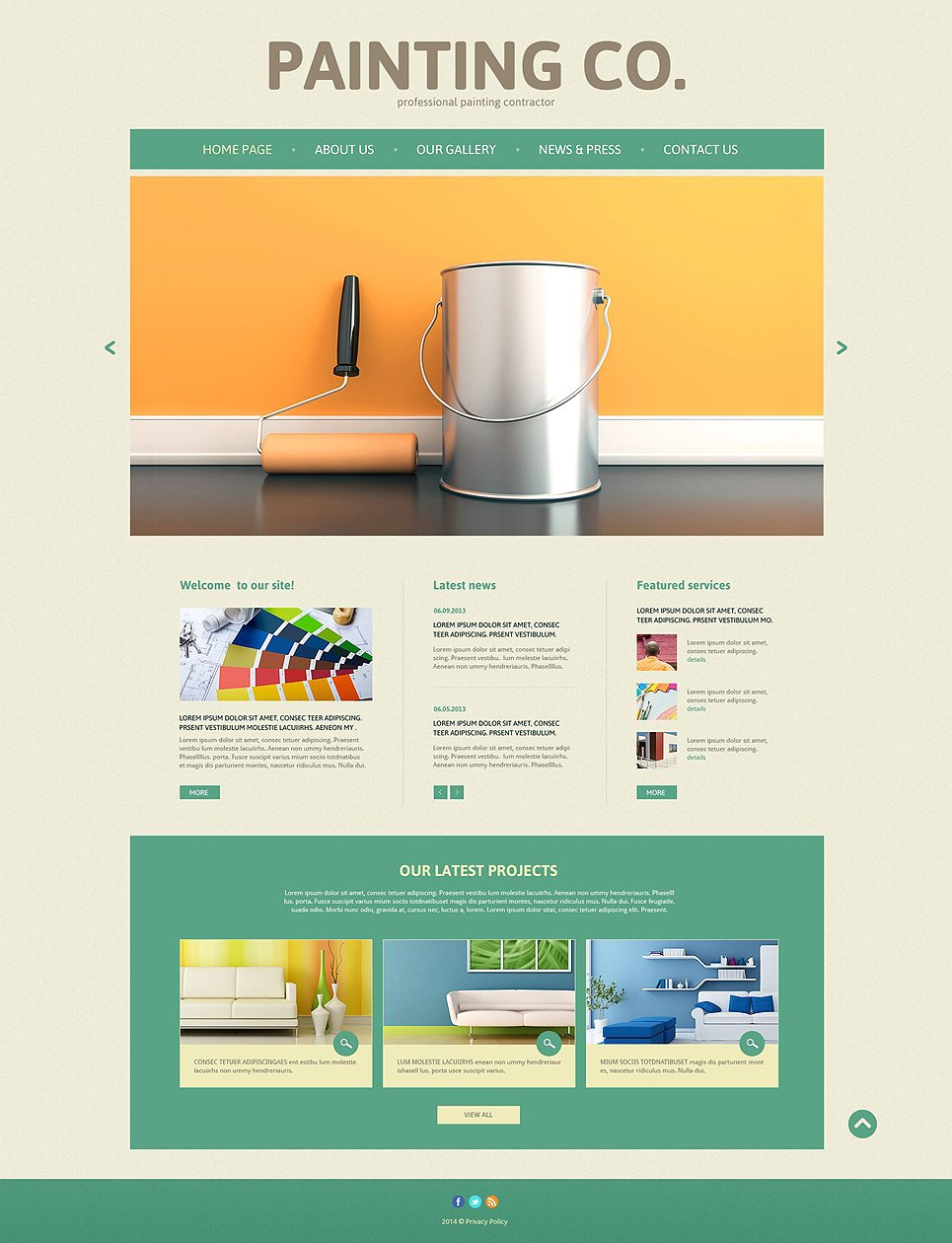 Painting Company Responsive Website Template #52492