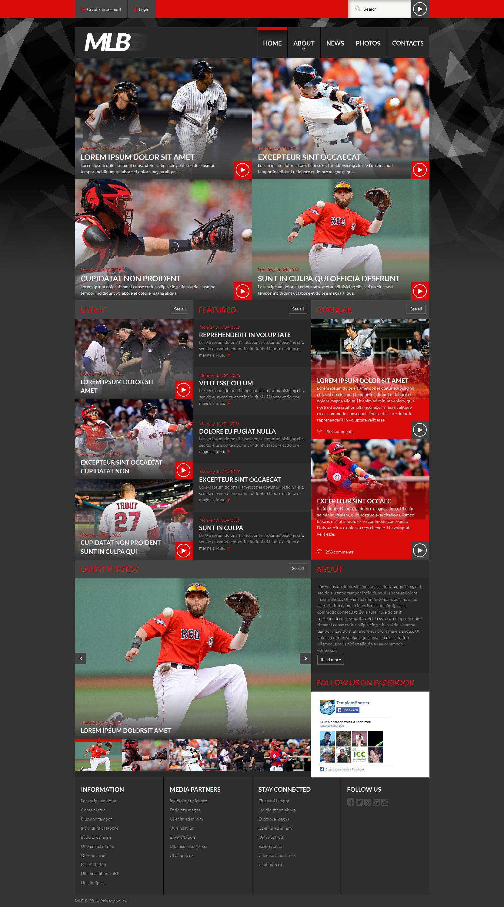 "Plantilla Web ""Baseball News Portal"" #52497"