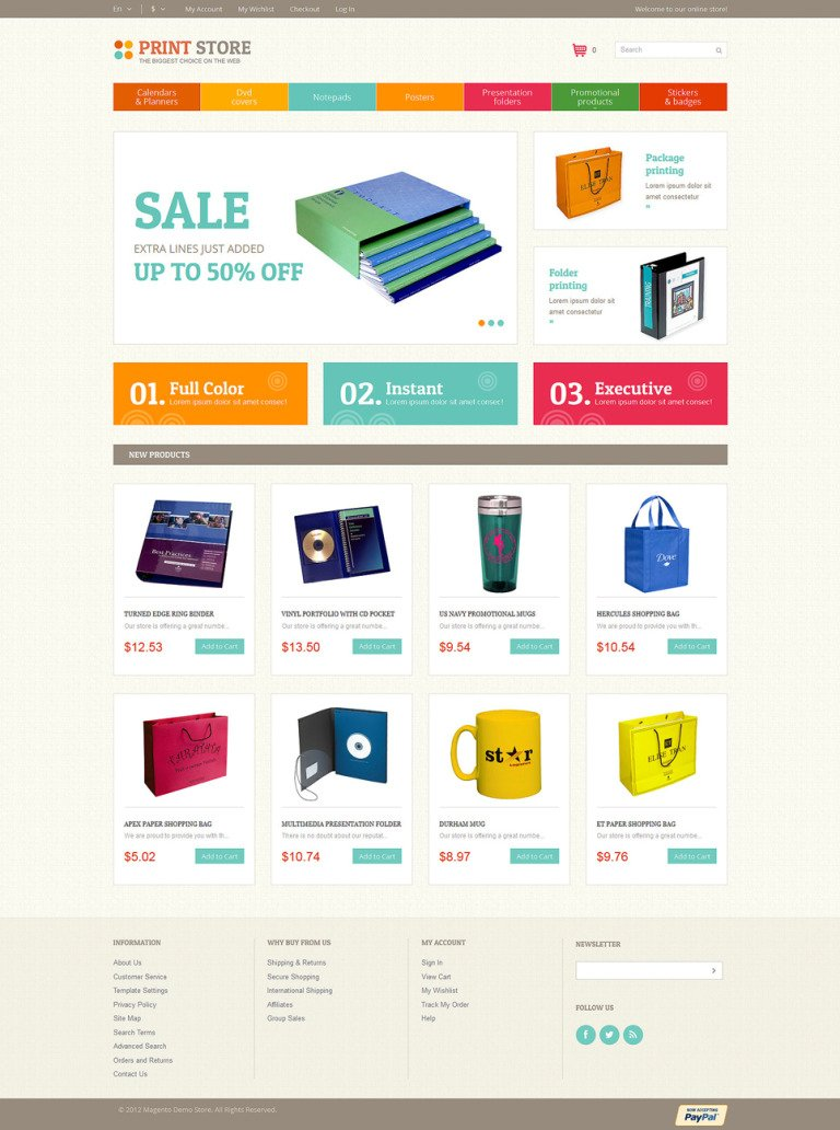Print Store Magento Theme New Screenshots BIG