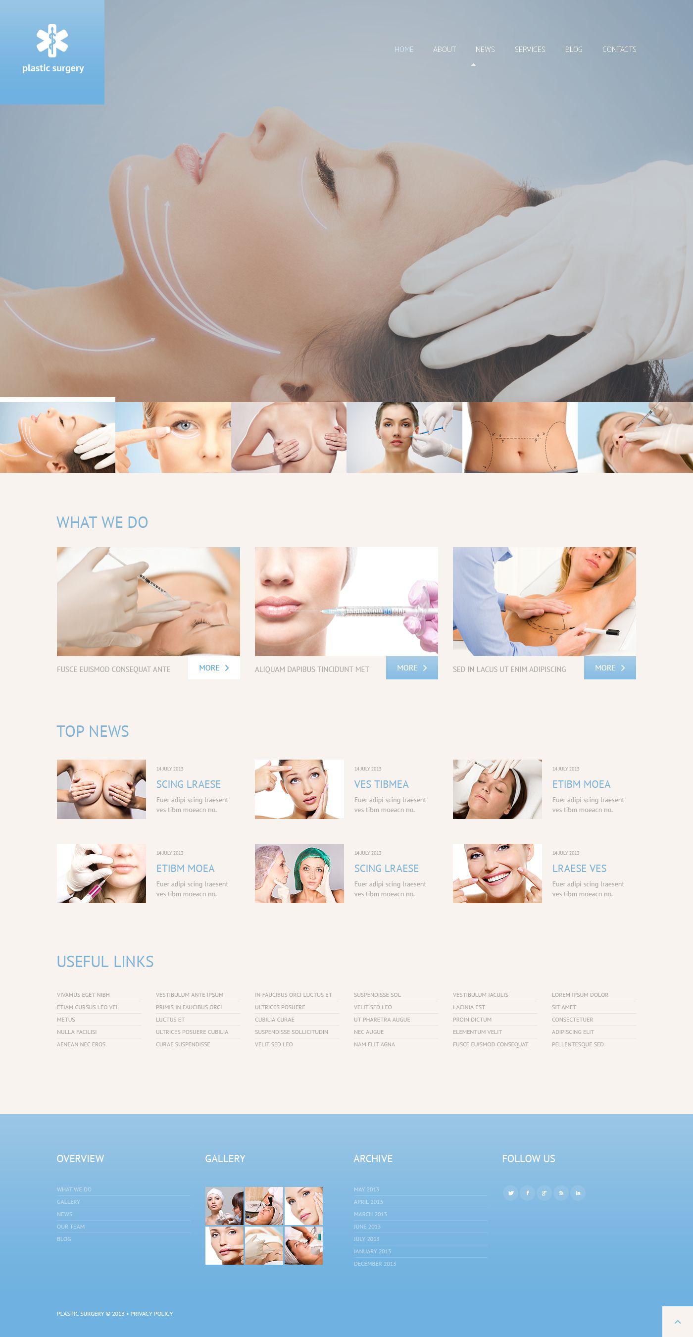 Responsywny motyw WordPress #52477 na temat: chirurgia plastyczna - zrzut ekranu