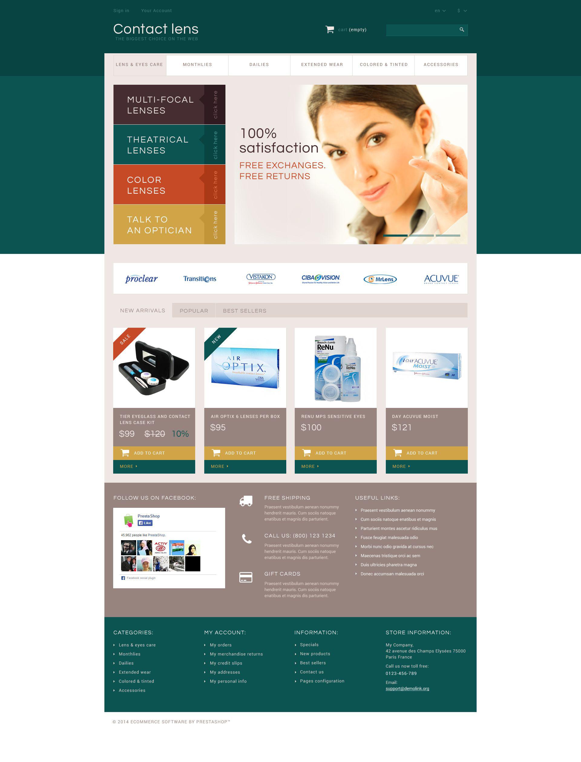 Reszponzív Contact Lens Store PrestaShop sablon 52427 - képernyőkép