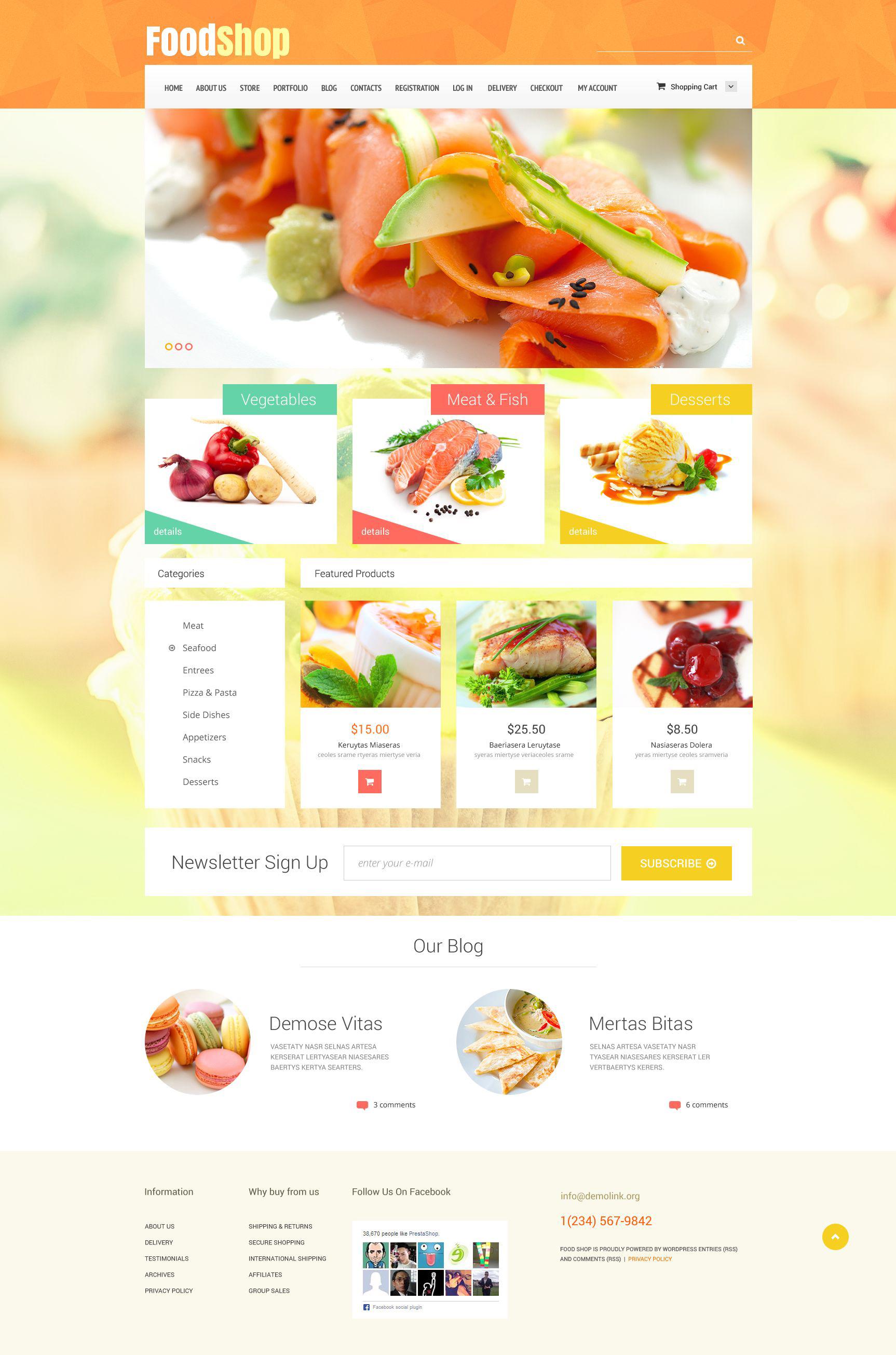 Reszponzív Food Shop WooCommerce sablon 52488