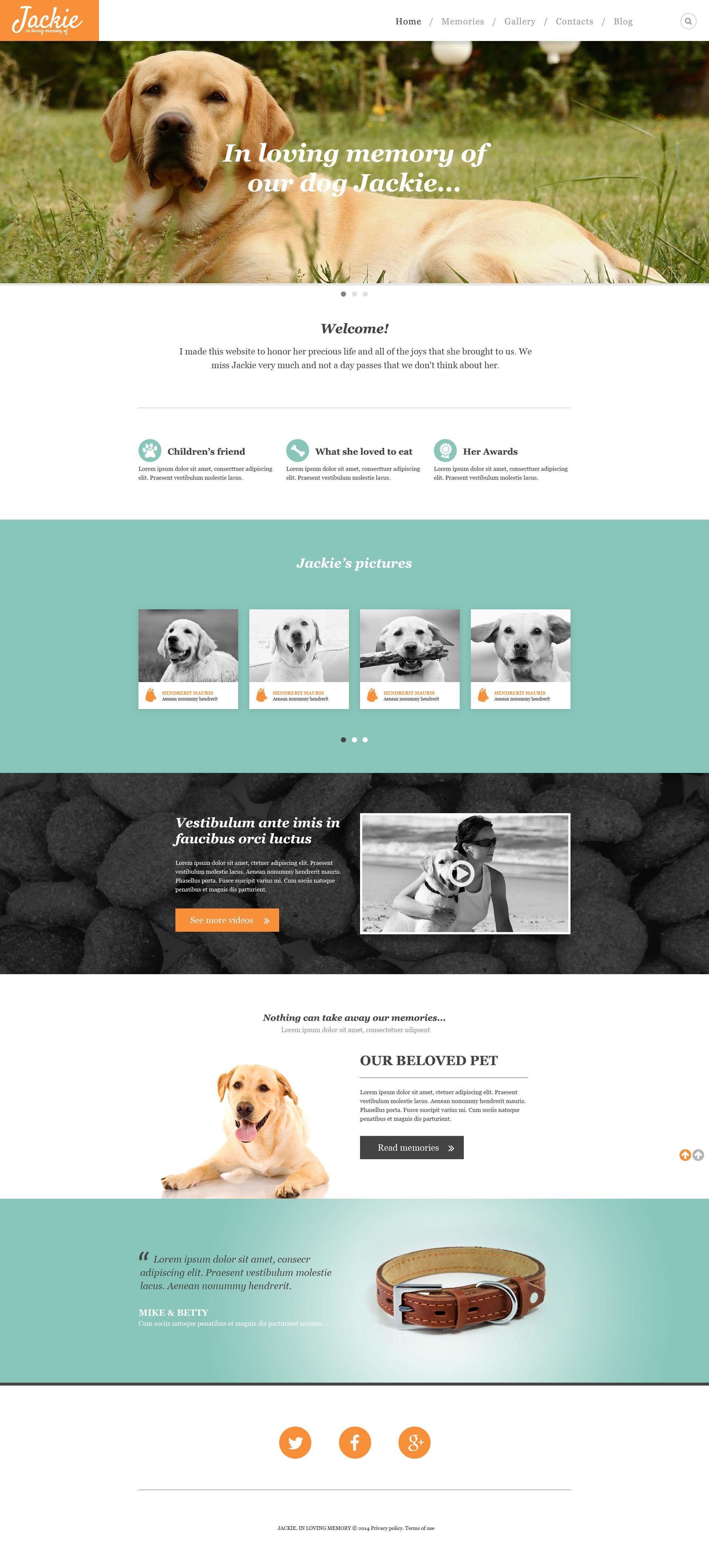Reszponzív Kutyák témakörű Weboldal sablon 52403