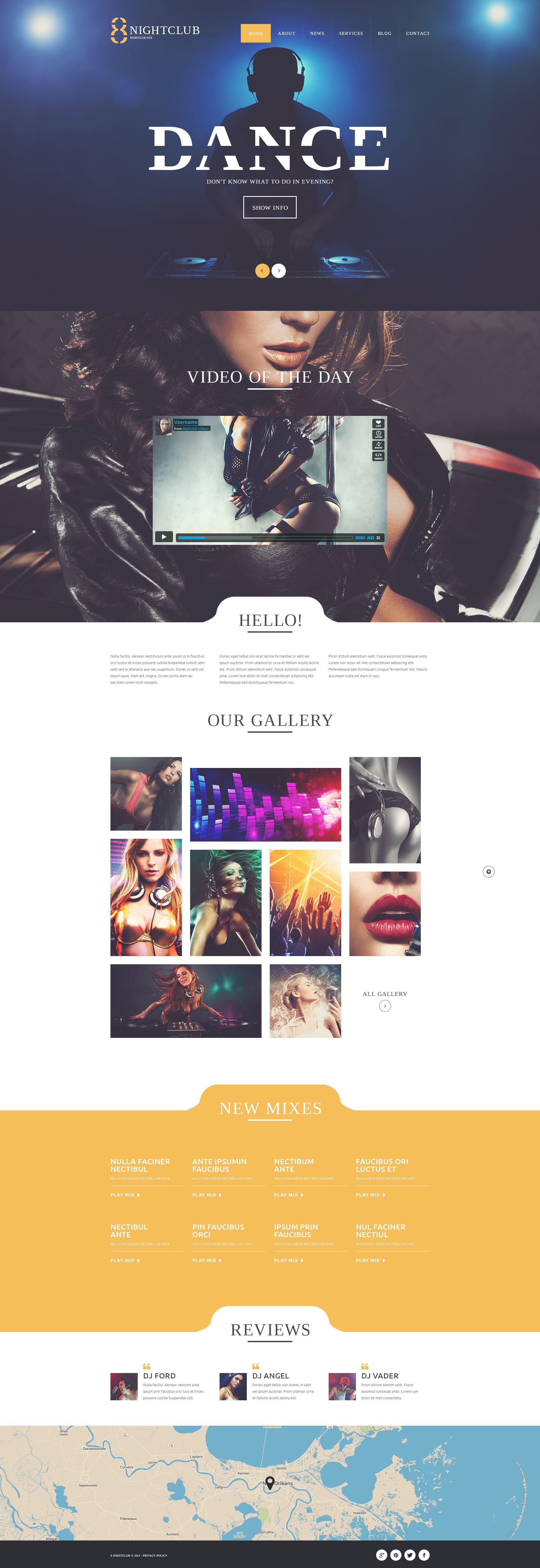 Reszponzív NightLife WordPress sablon 52425 - képernyőkép