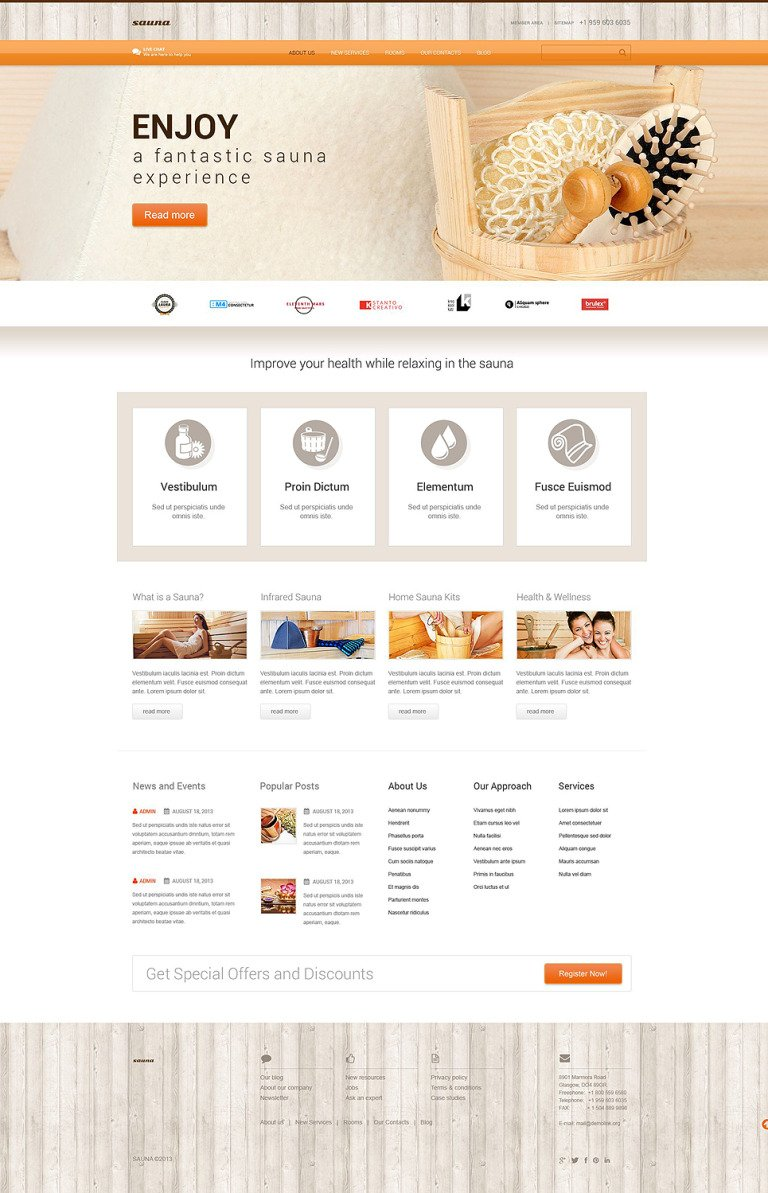 Sauna WordPress Theme New Screenshots BIG