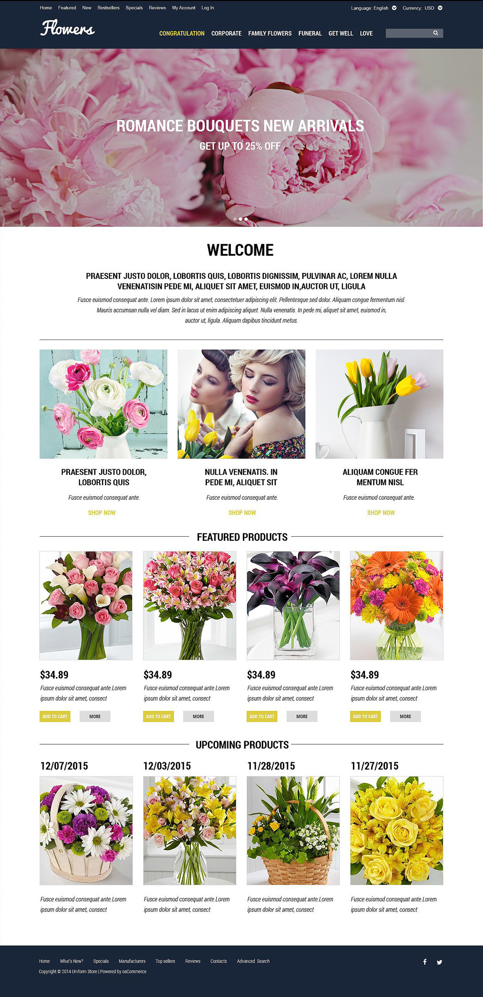Selling Flowers OsCommerce Template New Screenshots BIG