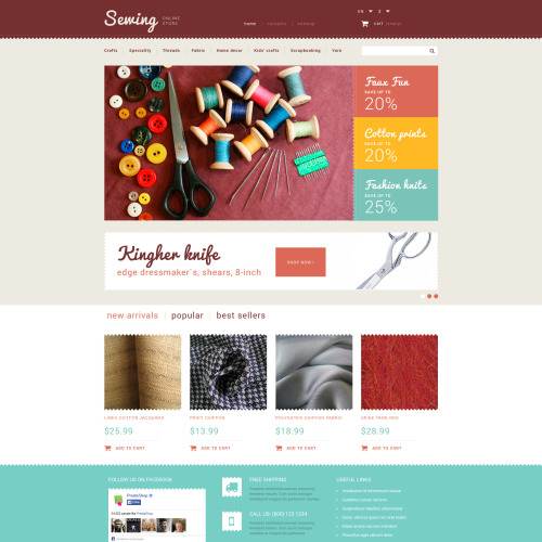 Sewing Online Store - PrestaShop Template based on Bootstrap