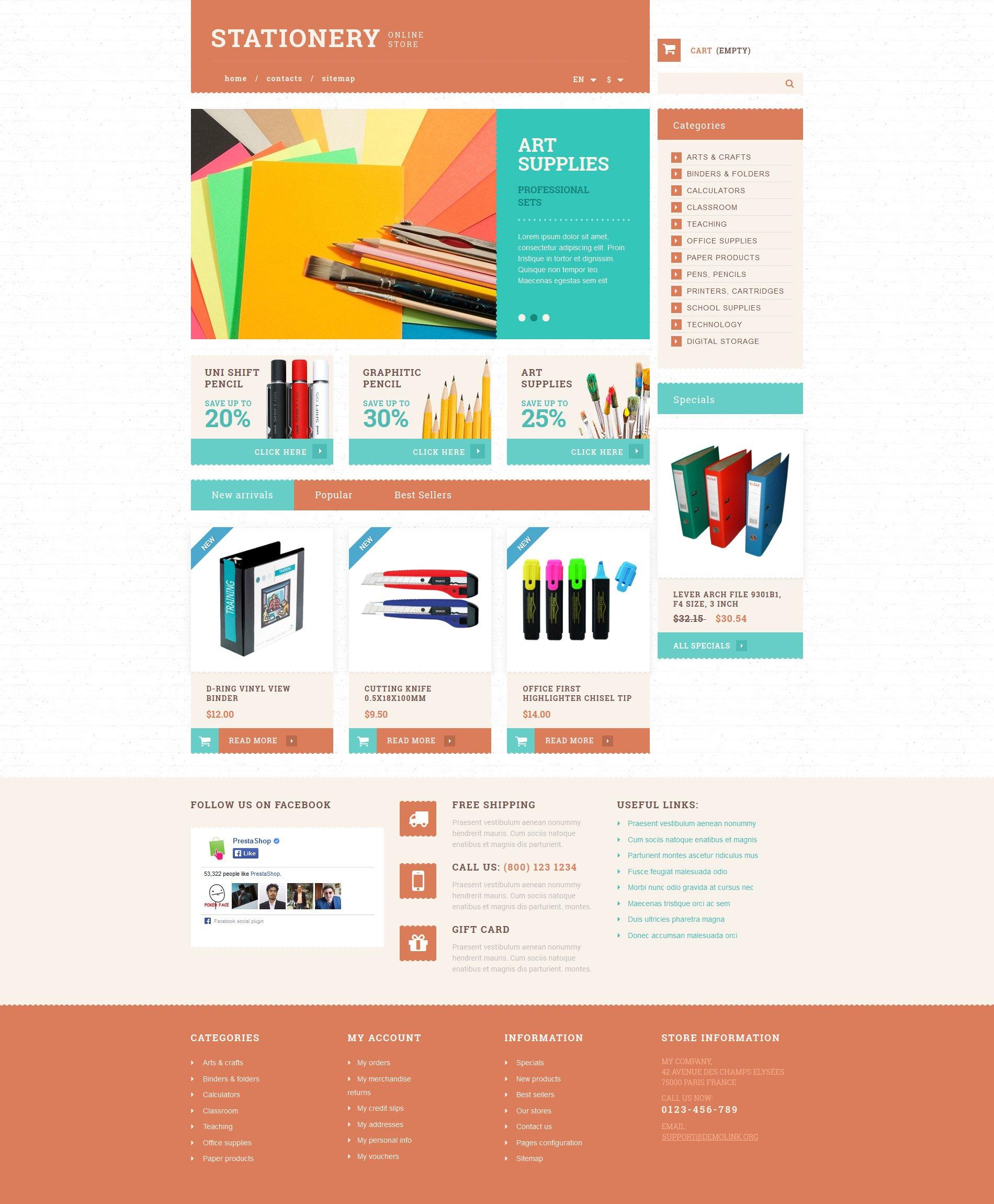 Stationery and Paper PrestaShop Theme - screenshot