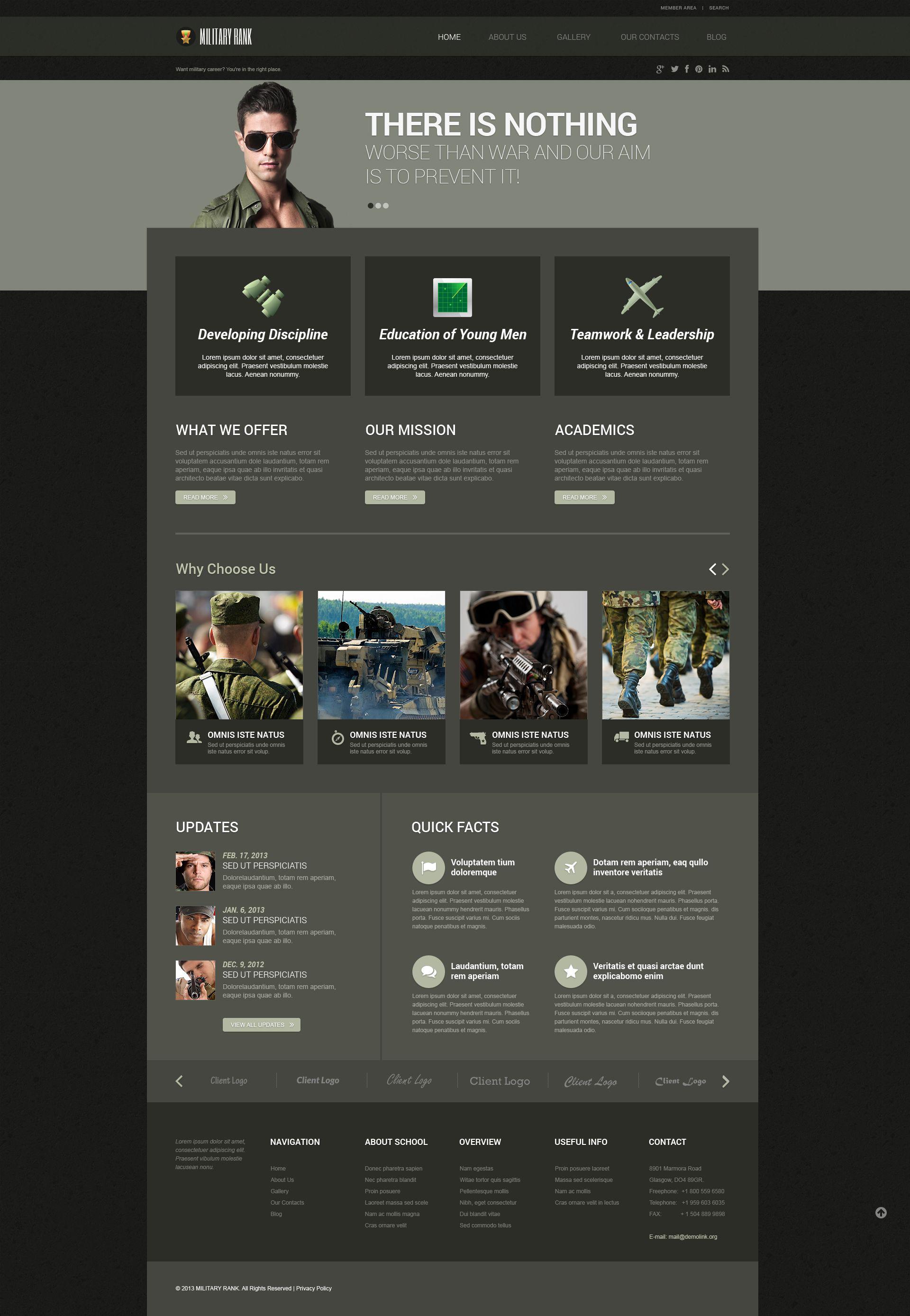 Tema WordPress Flexível para Sites de Militar №52472