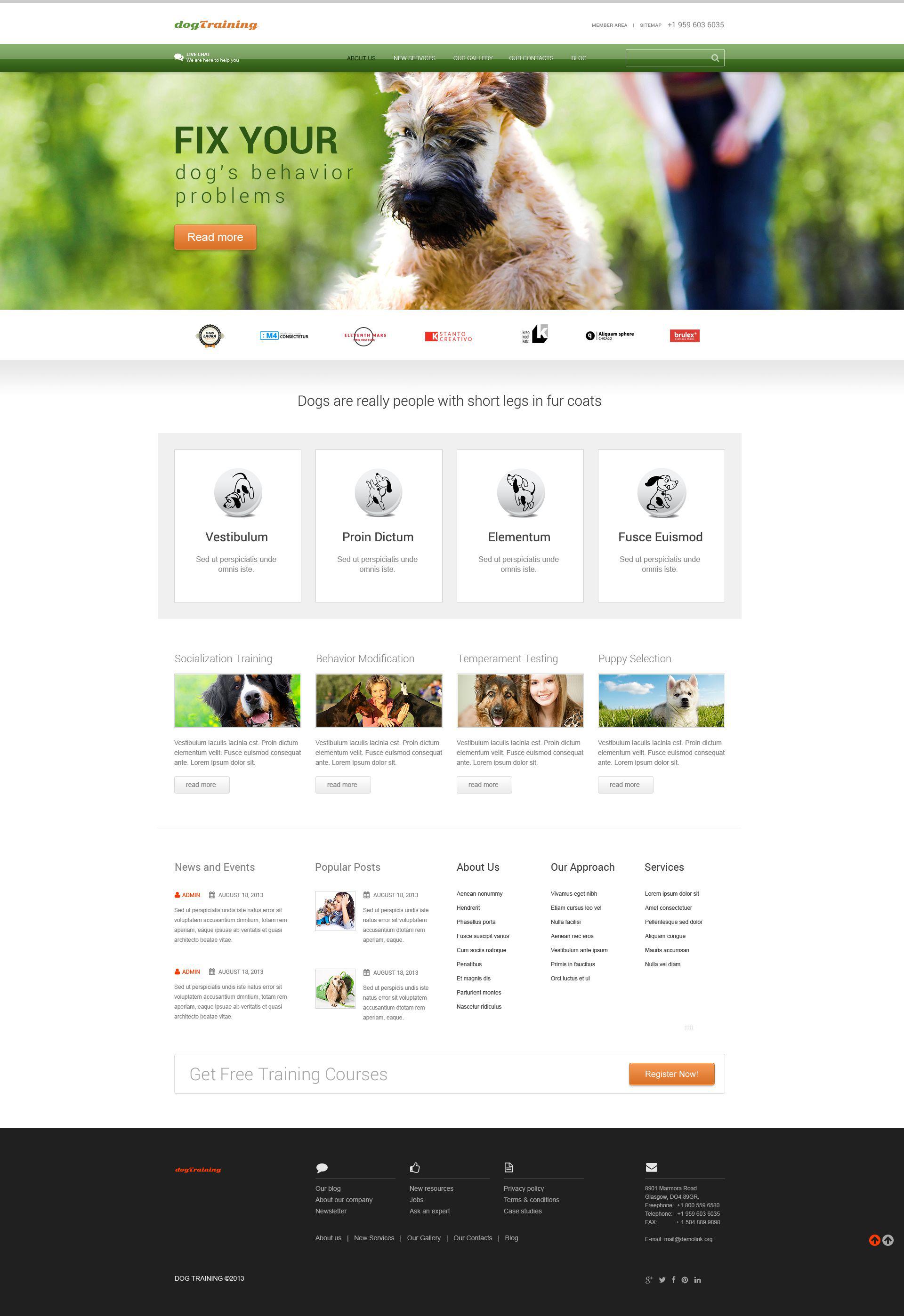 Tema WordPress Responsive #52440 per Un Sito di Cani