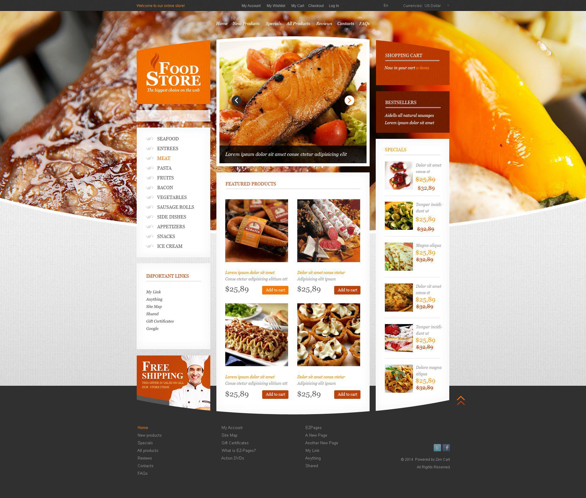 Template ZenCart para Sites de Loja de comida №52462