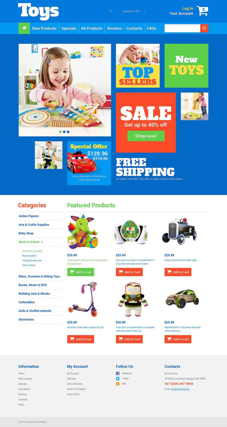 Toy Store ZenCart Template New Screenshots BIG