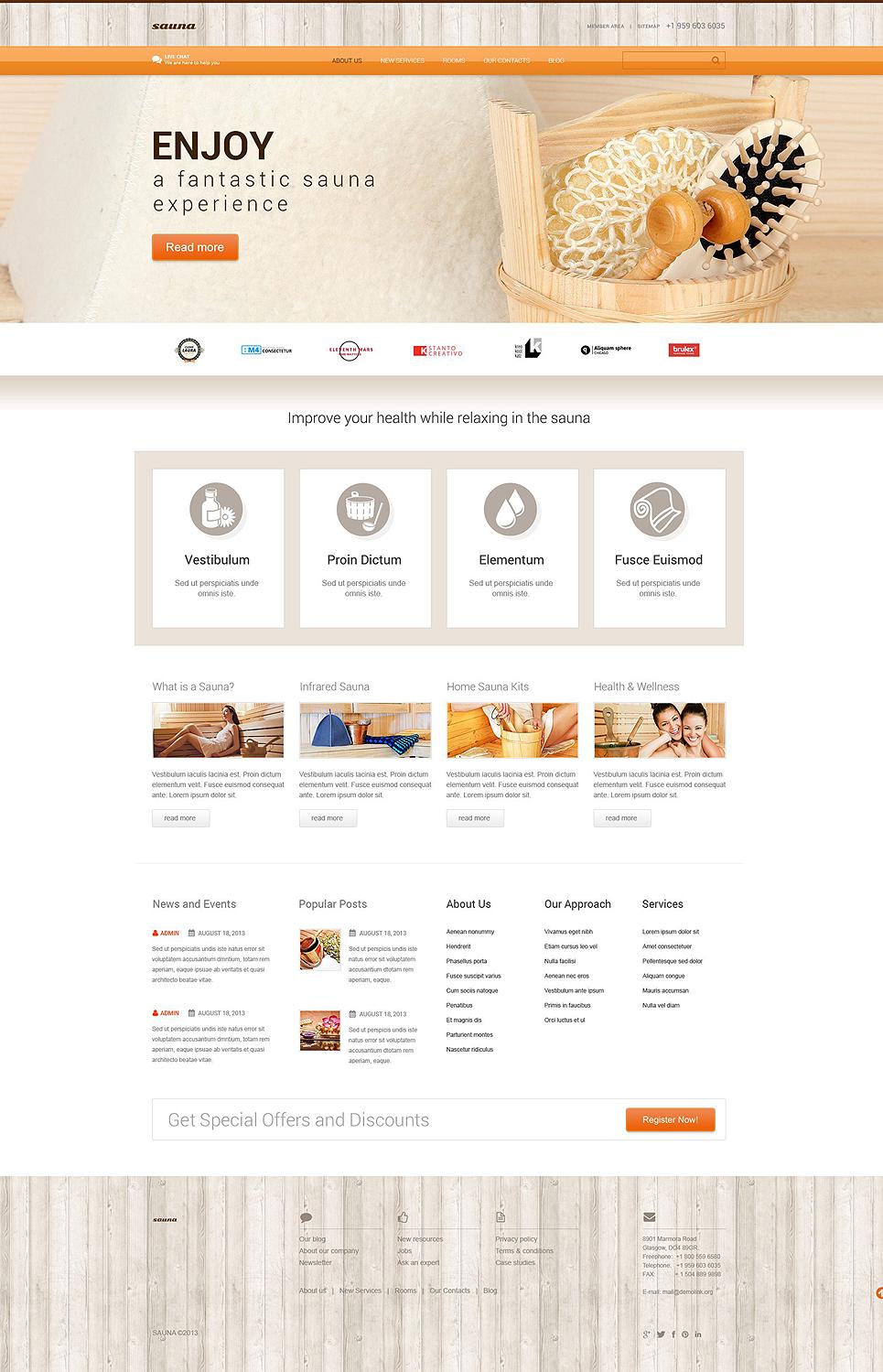 Шаблон сайта на тему сауна #52439