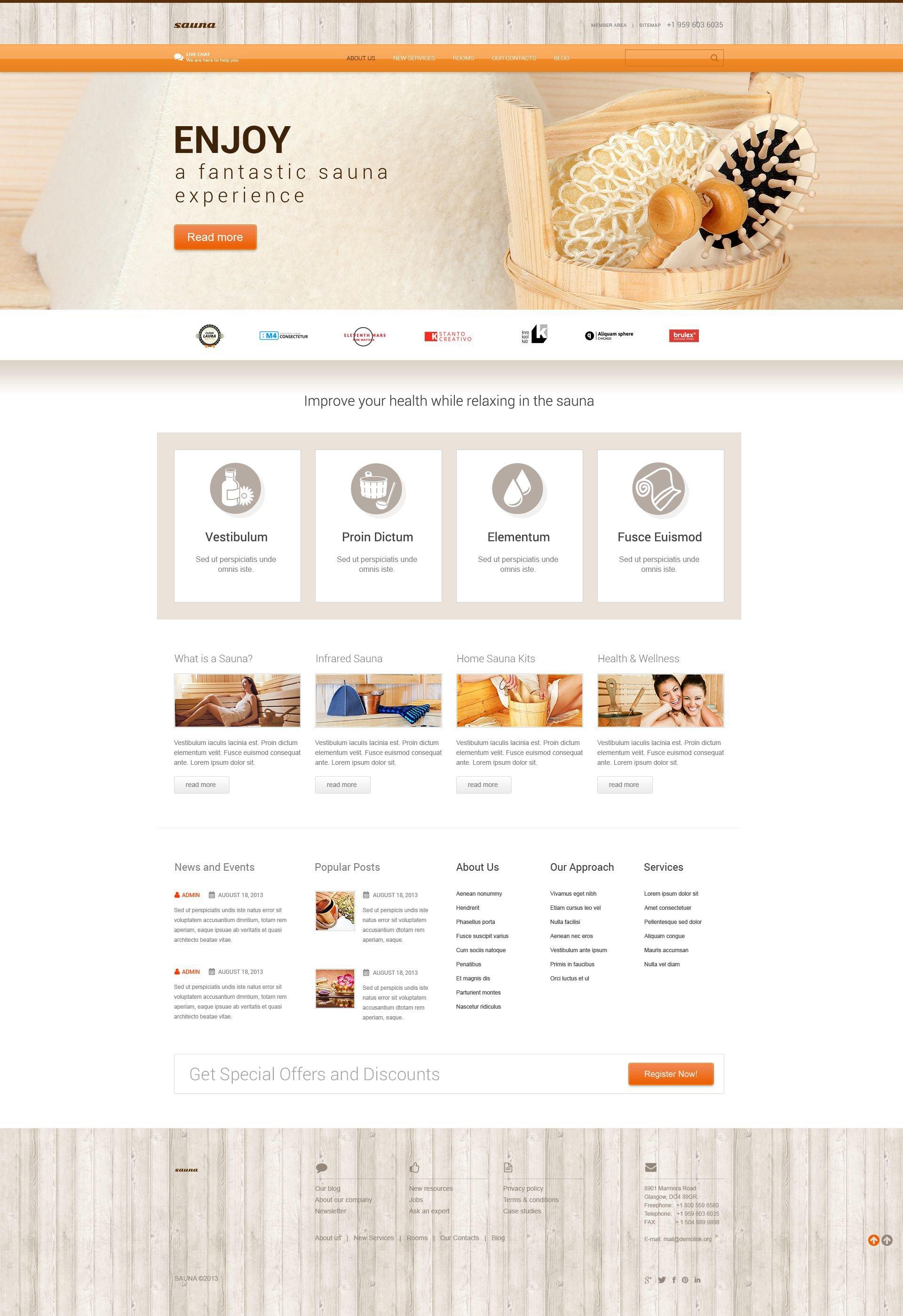 WordPress шаблон №52439 на тему сауна