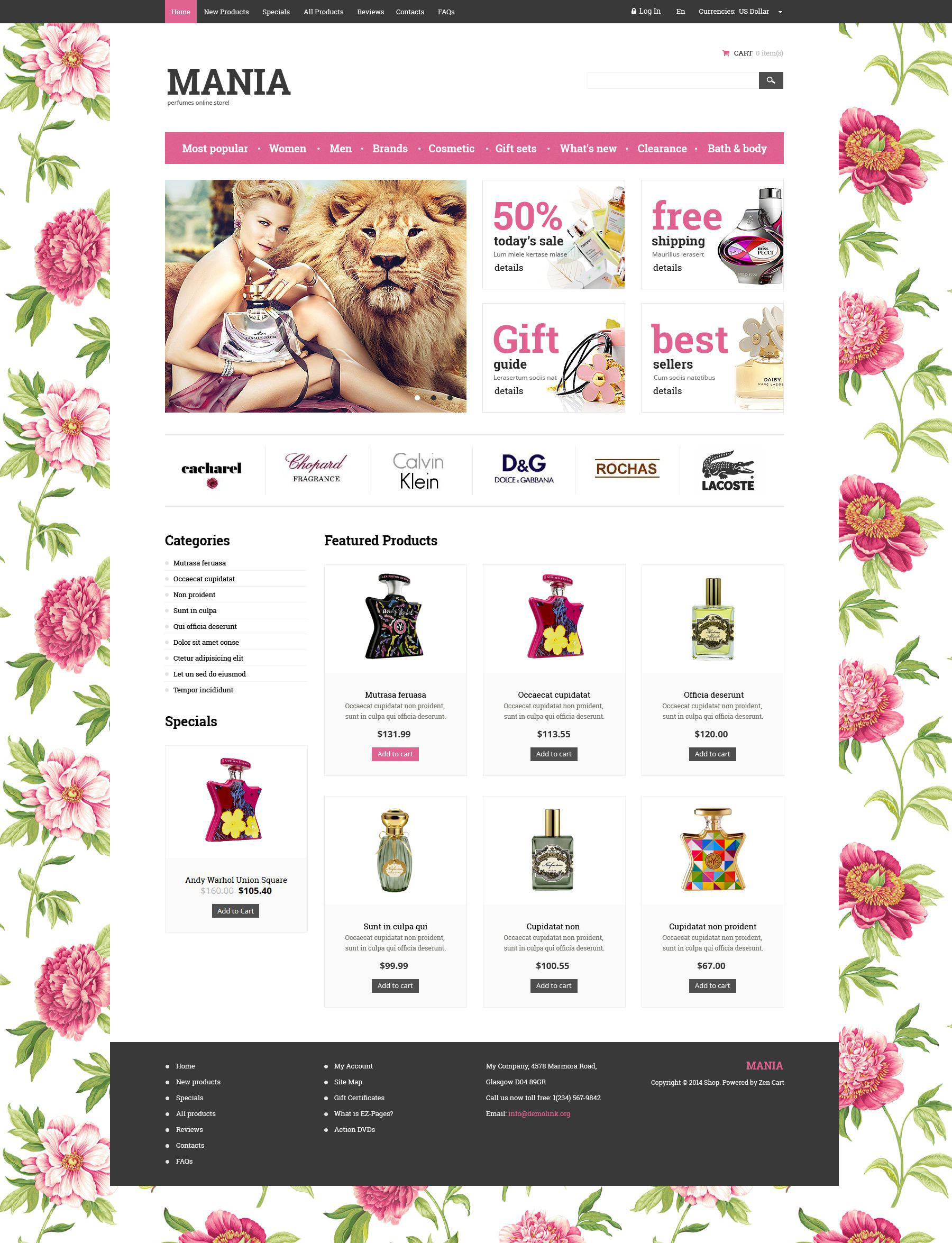 ZenCart шаблон №52434 на тему магазин косметики
