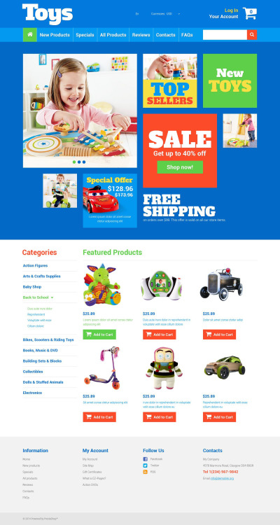 Toy Store ZenCart šablona