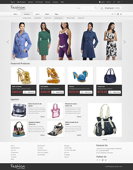 ZenCart Template 52517 Main Page Screenshot