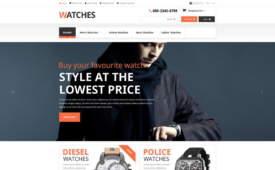 Responsive OpenCart Vorlage für Uhren  New Screenshots BIG
