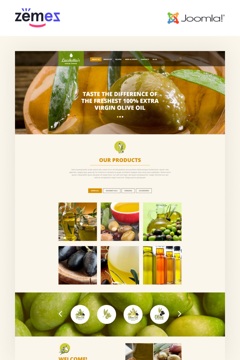 Адаптивный Joomla шаблон №52579 на тему напитки и еда