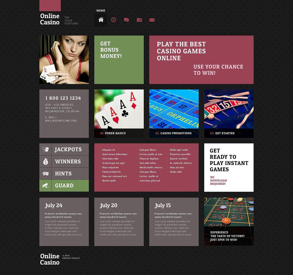 Адаптивный шаблон сайта на тему онлайн покер #52505