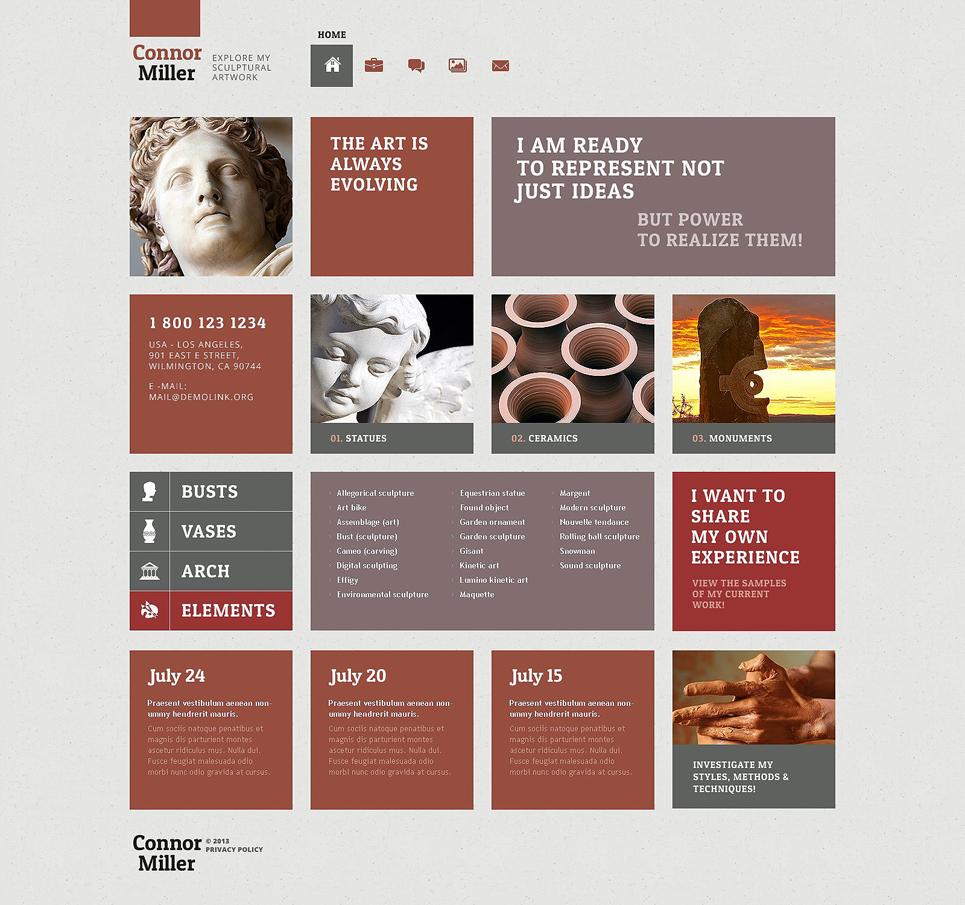 Адаптивный шаблон сайта на тему скульптура #52508