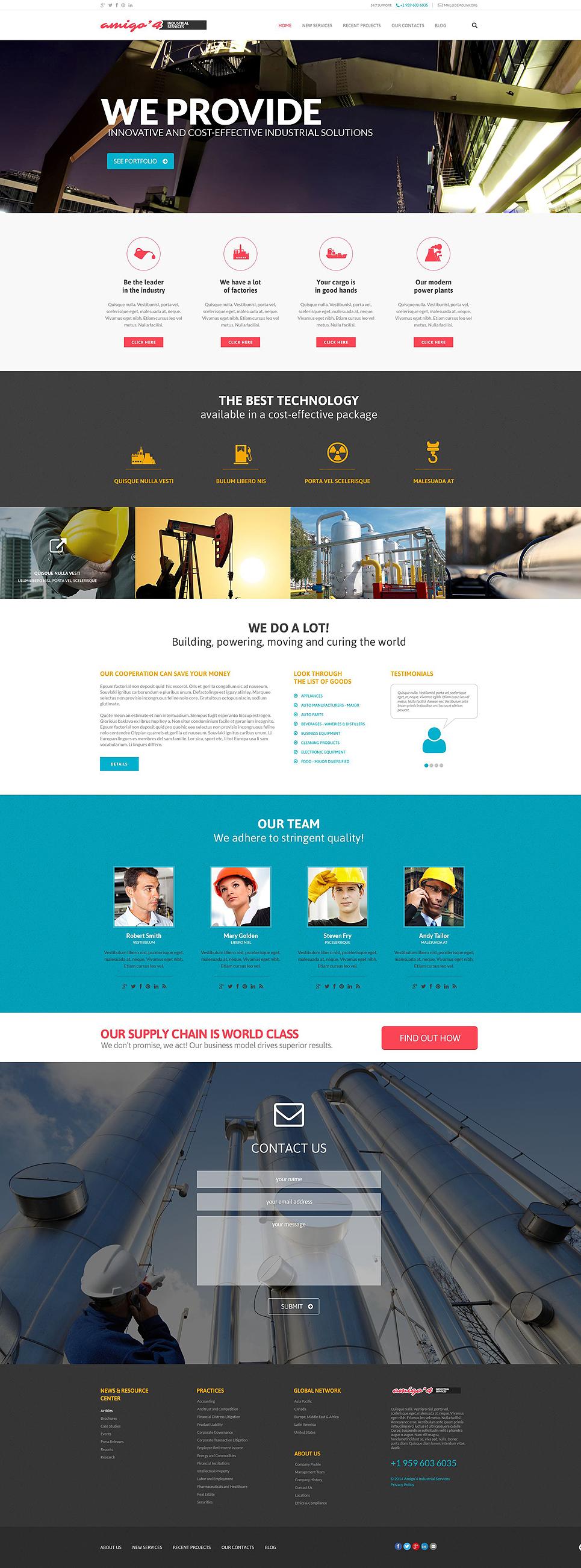 Адаптивный шаблон сайта на тему промышленность #52551