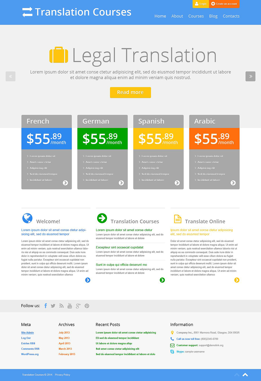 Адаптивный шаблон сайта на тему языковая школа #52553