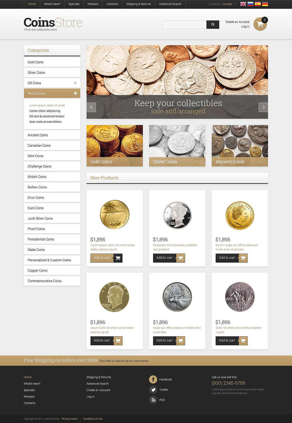 Antique Store OsCommerce Template New Screenshots BIG