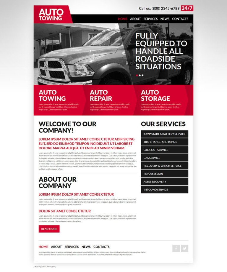 Automobile Towage Joomla Template New Screenshots BIG