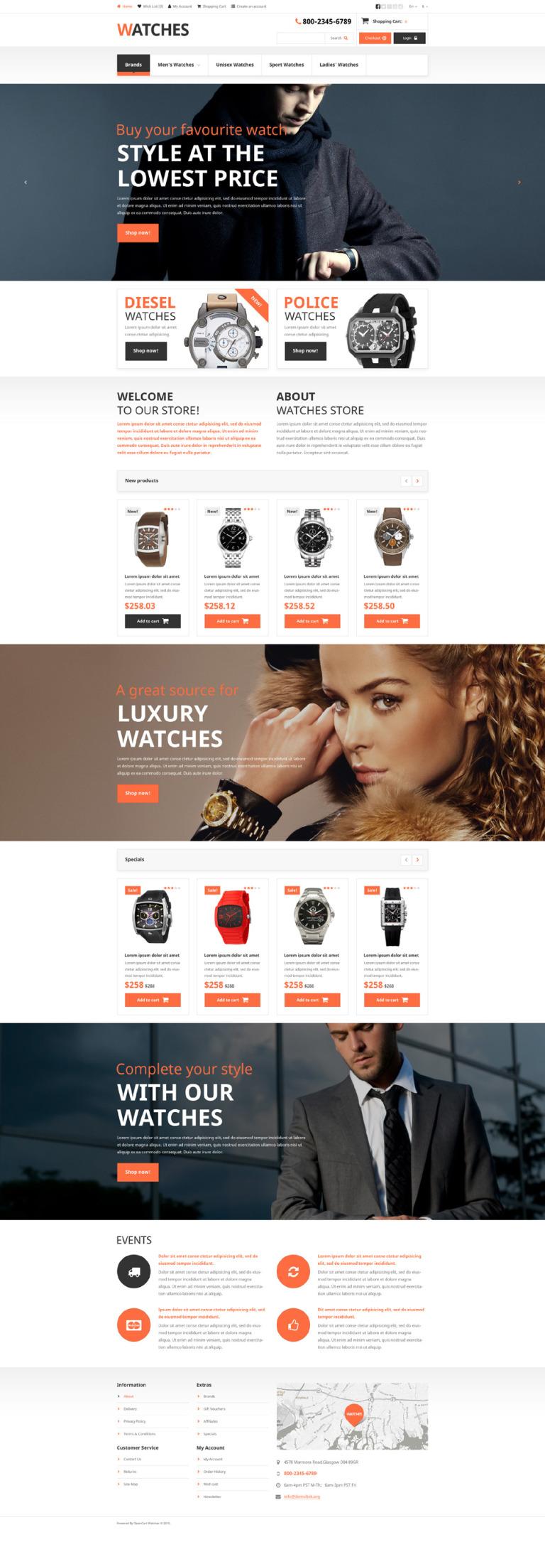 Brand Watches OpenCart Template New Screenshots BIG
