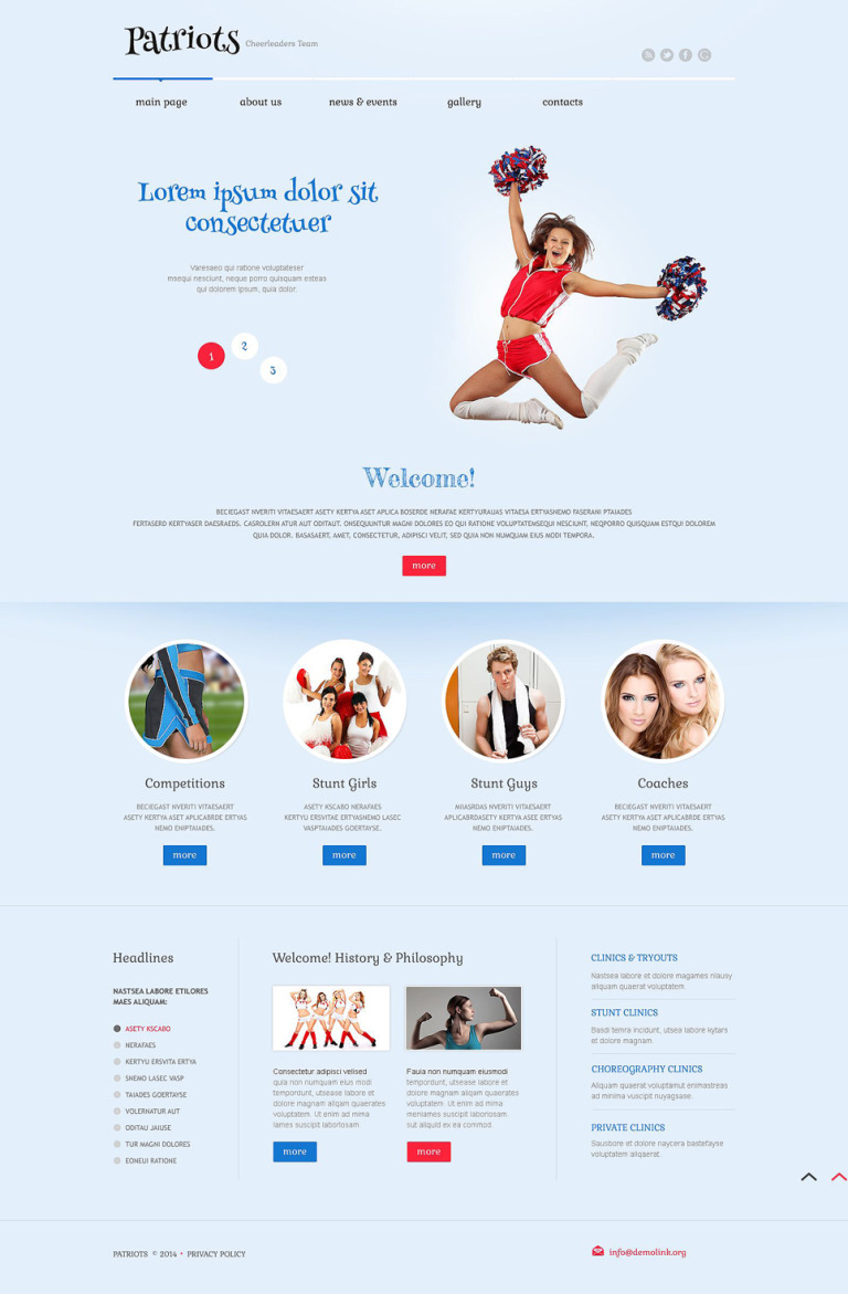 Cheerleading Responsive WordPress Theme New Screenshots BIG