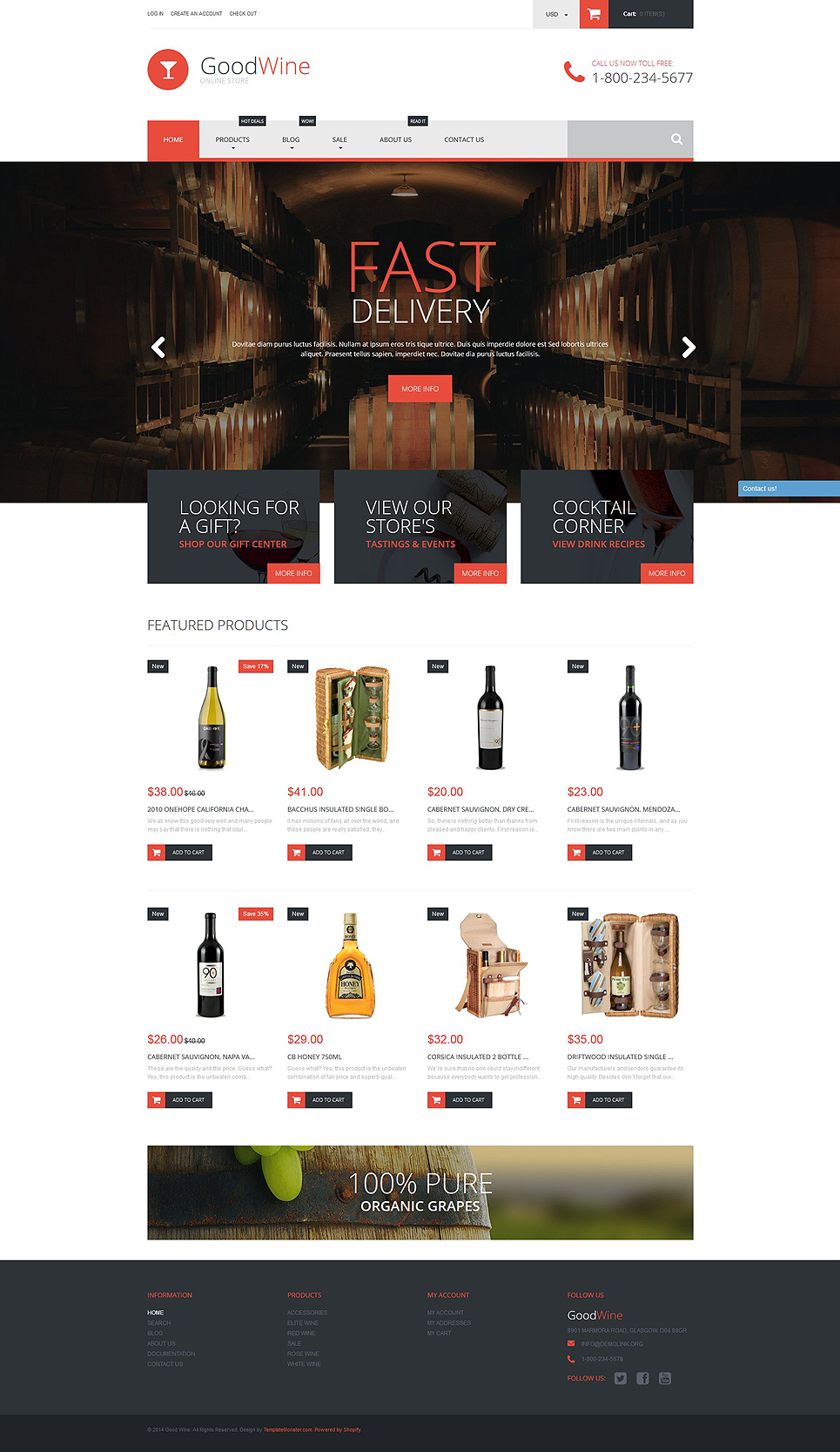 free shopify templates - excellent wine shopify theme 52597