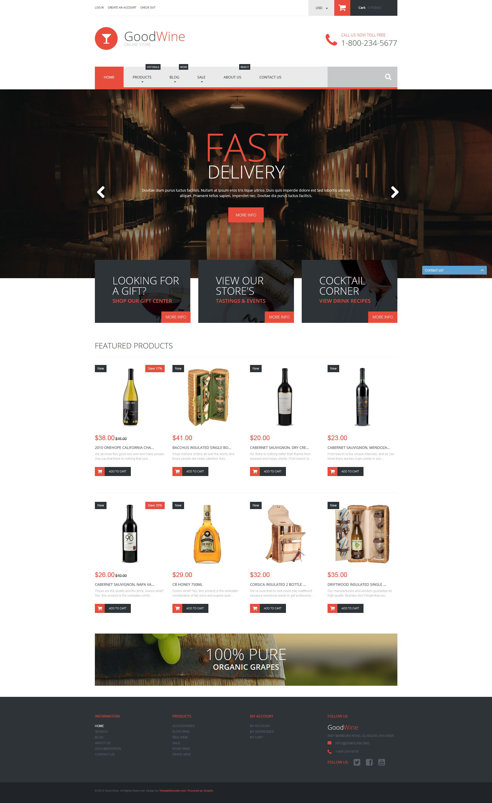 Shopify Templates | Excellent Wine Shopify Theme 52597