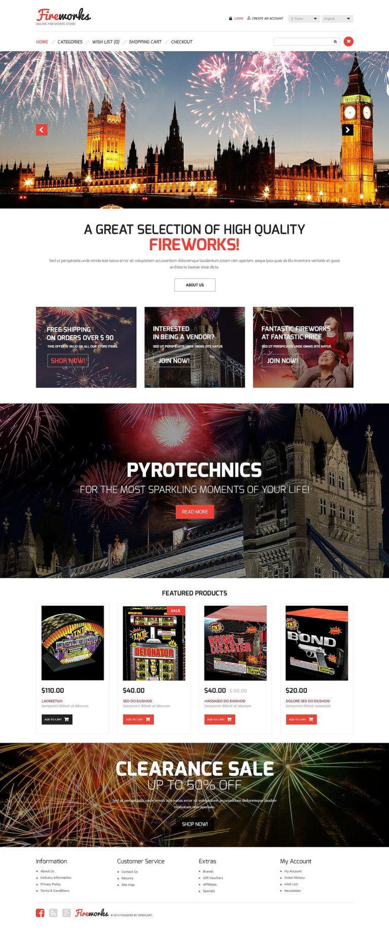 Fireworks Store OpenCart Template New Screenshots BIG