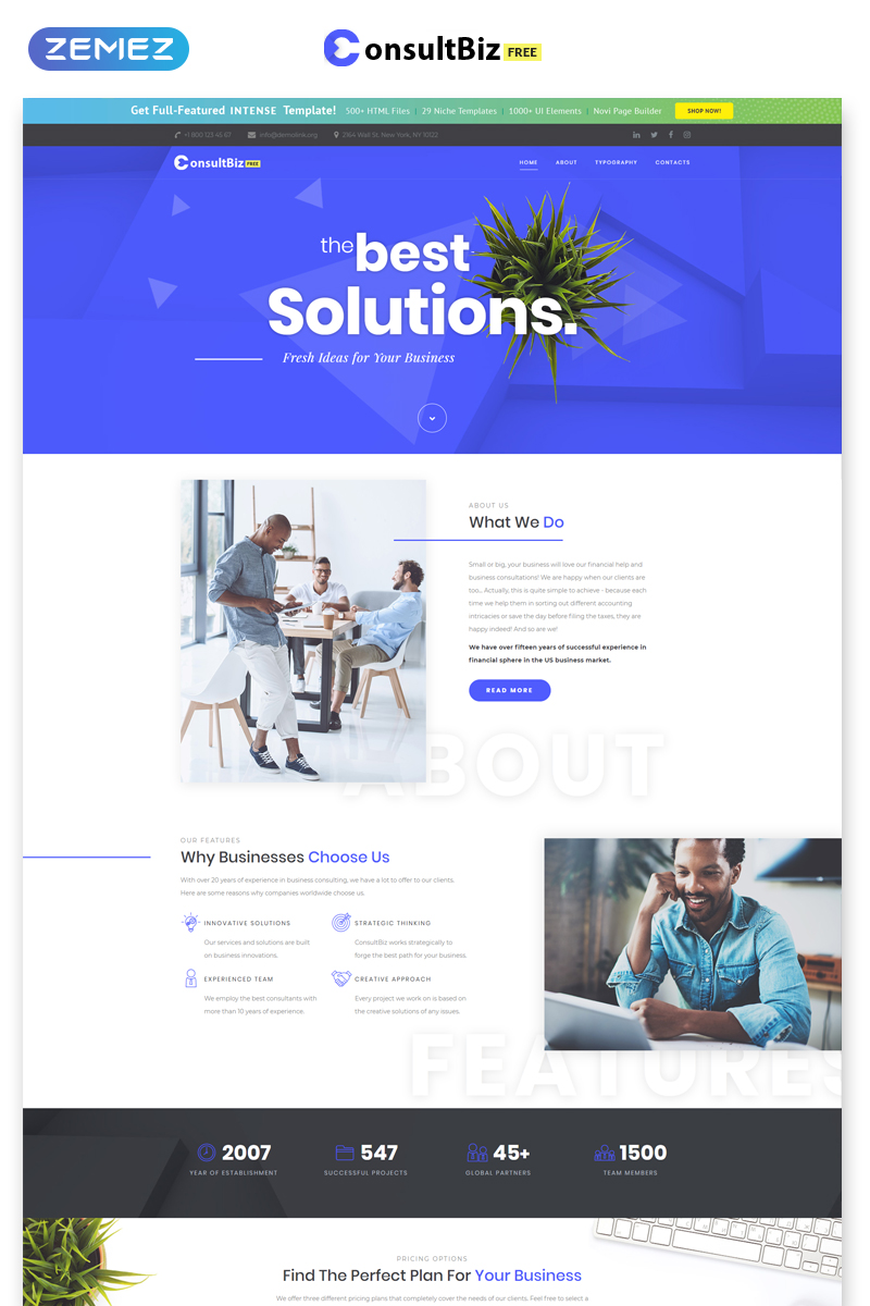 Free Responsive Corporate Template Template Web №52524 - captura de tela