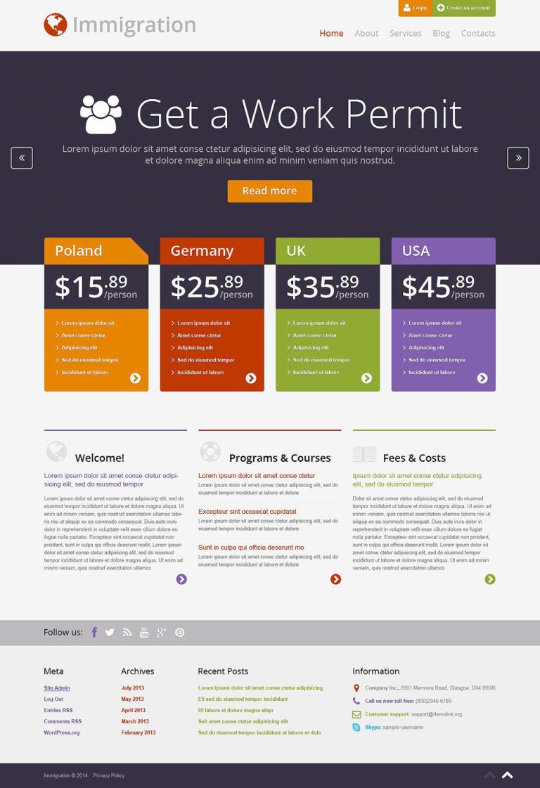 Immigration Consultancy WordPress Theme New Screenshots BIG